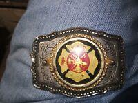 Vintage Silver and Enamel Volunteer Fire Dept. Belt Buckle made in U S.A.