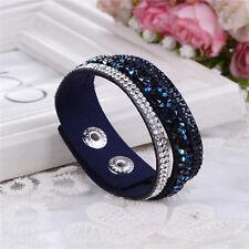 Elegante Pulsera De Cuero odre hecho con cristales de Swarovski-Negro y Azul