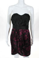 Elle Black Floral Pleated Strapless A Line Dress Size 6 NEW JG12
