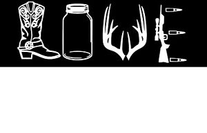 Hunting Country LOVE decal boots, deer, antlers, rifle, mason jar. choose