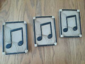 WALL HANGING 3-PC SET HOME DECOR MUSIC THEMED STONE ARE MUSICAL NOTES
