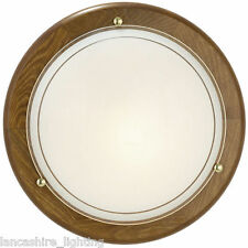 Wooden Flush Ceiling Light With Frosted Glass Shade - Oak Finish Ceiling Light
