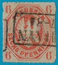 + 1861 Prussia Germany Arms Eagle Raptor Embossed #16 A6 6pf RPO Railway used