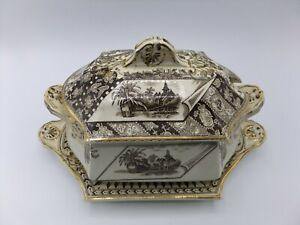 Canterbury Brown Transferware Tureen Platter Aesthetic 1883 James Beech? England