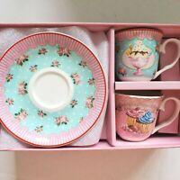 Graces Teaware Demitasse Expresso Cups Saucers 4 Piece Set Ice Cream Cupcake New