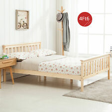4FT6 Double Solid Pine Wood Bed Strong Frame Bedroom Furniture with 6 Legs