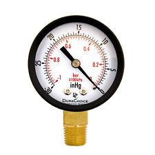 """Dry Utility Vacuum Pressure Gauge Blk Steel 1/4"""" NPT Lower Mount -30HG/0PSI AU"""