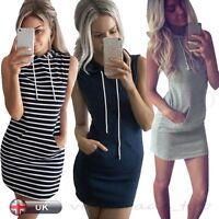 UK Womens Bodycon Casual Sleeveless Dress Ladies Hooded Mini Dress Size 8 - 14