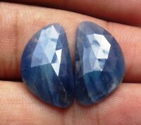 BLUE SAPPHIRE ROSE CUT FACETED PAIR 18.40 CTS NATURAL LOOSE GEMSTONE E 4469