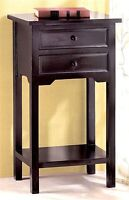 modern BLACK small side End bedside Table shabby Night stand 2 drawer & shelf