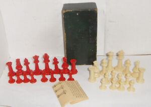 Vintage DRUEKE Complete Chess Piece Set. RED & WHITE... NO BOARD