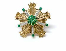Tiffany & Co. Retro Starburst Emerald Diamond 14K Yellow Gold Pin Brooch