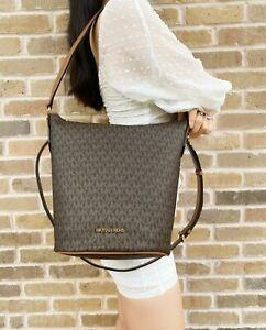 Michael Kors Brooke Medium Zip Bucket Messenger Bag Signature MK Leather
