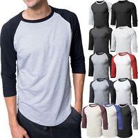Mens Baseball RAGLAN T-Shirts 3/4 Sleeve Tee Plain Team Sport Jersey Solid