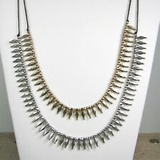 Lucky Brand Desert Oasis Necklace Brown Cord Gold & Silver Tone Spikes