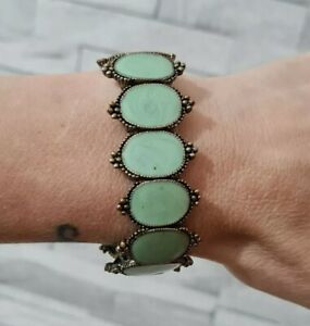 Statement Stretch Bracelet Bronzetone Metal Green Enamel Costume Jewellery