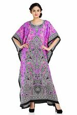 Plus Size Purple Hued Caftan Women Dress Hippie Boho Maxi Gown Beach Cover up