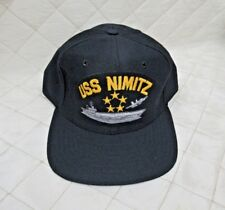 USS Nimitz Vintage Snapback Cap Navy Blue Hat New Era NOS Unworn Med-Large