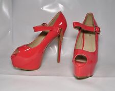 "Liliana ""Maniac"" Coral patent open toe hi-heel pumps - Size 11,  6.5"" heel - New"