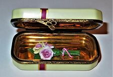 Limoges Box - Rochard - Gift Box With Ribbon & Bow - Pink Bisque Roses Inside
