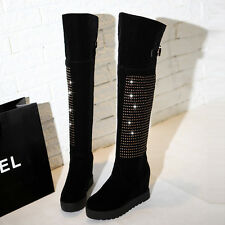Womens Pull On Wedge Heel Creeper Platform New Rhinestones Knee High Boots Shoes