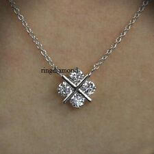 2 Ct 4 Pcs Round Cut Off White Moissanite Only Cross Pendant 925 Sterling Silver