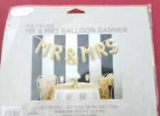 "NIP MR & MRS 18"" Gold BALLOON BANNER 6 Pieces MYLAR BALLOONS No HELIUM NEEDED!"