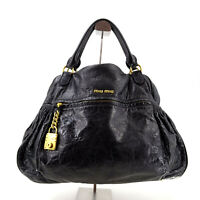Miu Miu by Prada Vintage Black Leather Large Tote Top Handle Bag - Made in Italy