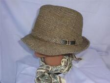 Vintage London Fog Wool Blend Camel and Gray Tweed Fedora Hat Made in Usa