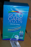 MENICON SOLO CARE AQUA 4 x 360 ML KONTAKTLINSEN ALL IN ONE LÖSUNG + BEHÄLTER NEU
