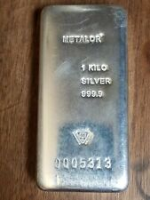 1 Kilo Metalor Ag Silver .9999 Fine Invest In Silver Hand Poured Numbered Bar