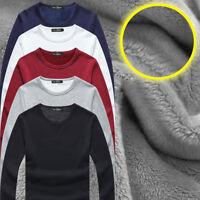 Autumn Warm Thermal Winter T-Shirt For Mens Long Sleeve Casual V Neck Velvet