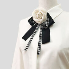 Formal Woolen Camellia Bow Tie Black Houndstooth Ribbon Shirt Collar Necktie Pin