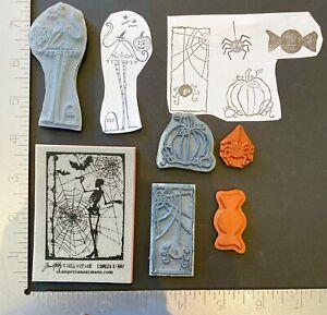 Lot Halloween Stamps Tim Holtz Pumpkin Candy Skeleton Bat Web Witch Grave Jack