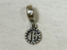 "Genuine PANDORA Sterling Silver 925 ""Sweet 16"" Dangle Charm (2.3g)"