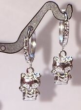 18k Solid White Gold Cute Hello KittyDangle Hoop Earrings, Diamond Cut 1.67grams