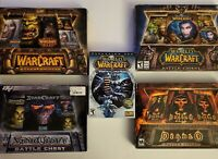 Lot 5 Big Box PC Games Diablo II WarCraft Battle Chest StarCraft Keys & Manuals