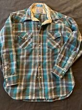 VTG Pendleton Virgin Wool Western Shirt Large Teal Plaid Pearl Buttons