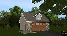 26' x 24' 2 car garage plans blueprints loft above 0852