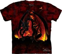 Fireball T-Shirt by The Mountain. Fire Breathing Dragon Tee Sizes S-5XL NEW