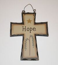 Primitive Carved look Cross HOPE  Wall or ornament