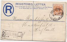 # 1920 FREETOWN SIERRA LEONE POSTAL STATIONERY REGISTERED ENVELOPE >HUDDERSFIELD