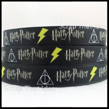 "HARRY POTTER  Ribbon.  1"" Grosgrain.  BLACK.  Scrapbooking/ Craft. Magic, Wizard"