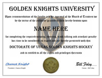VEGAS GOLDEN KNIGHTS PERSONALIZED FAN DIPLOMA, GREAT GIFT