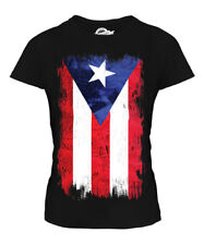 PUERTO RICO GRUNGE FLAG LADIES T-SHIRT TEE TOP PUERTO RICAN SHIRT FOOTBALL GIFT