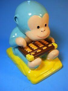 Wells Fargo Monkey Piggy Coin Bank Ceramic 2016 Lunar New Year Monkey Abacus