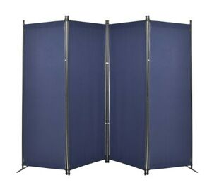 4 Panels Room Divider Folding Privacy Screen Home Office Dorm (Blue)