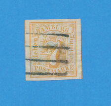 HAMBURG Germany - scott 6 used, watermarked, 7s yellow 1859