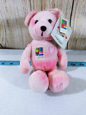 NWT 2002 Timeless Toys Pink I Love You Stamp Bear Plush Postal Valentines Day