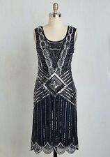 Modcloth Cabaret Soiree Midnight Dress NWT 4 $200 Beaded Gatsby Downton cutouts